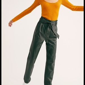 Free people sago leather hunter green trousers NWT